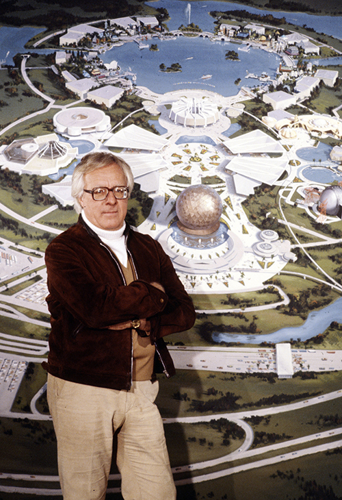 Ray Bradbury in front of Epcot Center mural, ca. 1981; courtesy of the Walt Disney Archives Photo Library, © Disney.