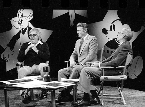 Ray Bradbury, Woolie Reitherman, and Frank Thomas, ca. 1977; courtesy of the Walt Disney Archives Photo Library, © Disney.