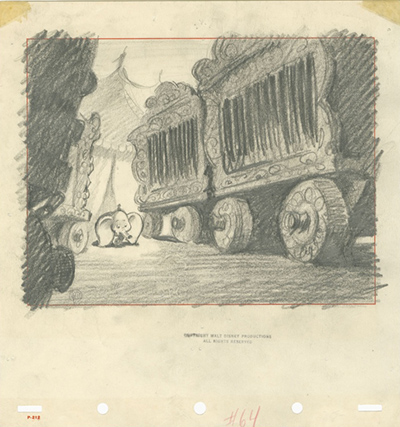 Dumbo storyboard drawing, c. 1941; collection of the Walt Disney Family Foundation, © Disney.