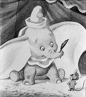 Time magazine cover drawing featuring Dumbo, c. 1941; courtesy of the Walt Disney Archives Photo Library, © Disney.