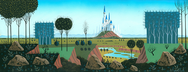 Eyvind Earle, concept painting for Sleeping Beauty, c. 1959; collection of the Walt Disney Family Foundation, © Disney.