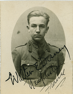 Walt in his Red Cross uniform, ca. 1919; collection of the Walt Disney Family Foundation.