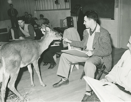 Frank Thomas with a deer, 1942; courtesy of the Walt Disney Archives Photo Library, © Disney.