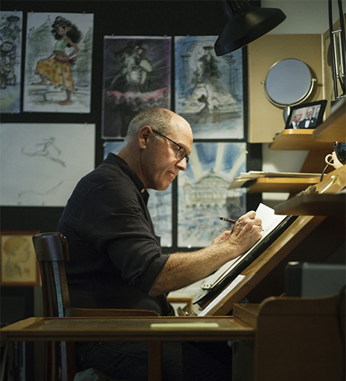 Glen Keane working at his animation desk, 2017; Monica Hervey.