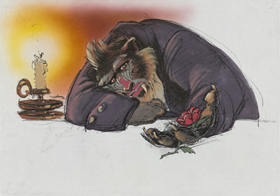 Concept art for Beauty and the Beast (1991), drawing by Glen Keane, coloring by Hans Bacher; courtesy of the Walt Disney Animation Research Library, © Disney