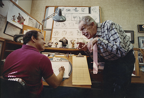 Glen Keane and Vincent Price, the voice of Ratigan, during production of The Great Mouse Detective (1986); courtesy of Glen Keane, © Disney Great Mouse Detective