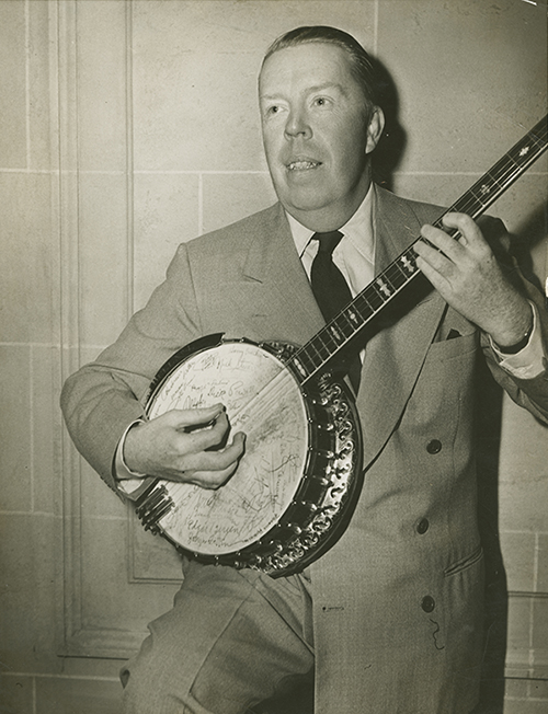 Portrait of Harper Goff with banjo, c. 1955; collection of The Walt Disney Family Foundation