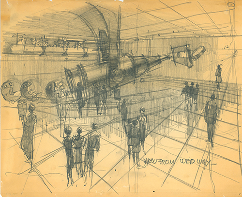 Concept art for Adventure Thru Inner Space, Herbert Ryman, ca. 1967; collection of the Walt Disney Family Foundation, © Disney.