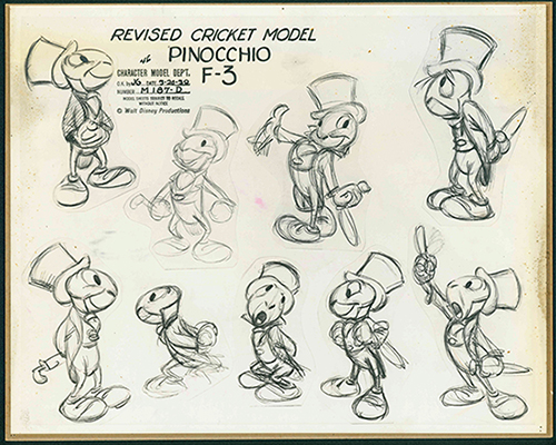 Revised Cricket Model Sheet, c. 1939; collection of the Walt Disney Family Foundation, © Disney.