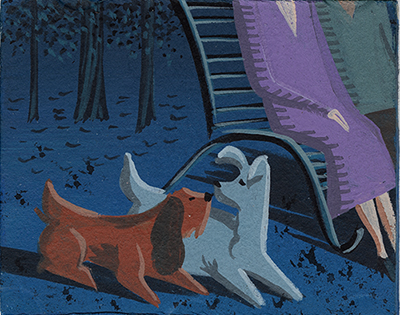 Lady and the Tramp concept painting, Eyvind Earle, c. 1955; collection of the Walt Disney Family Foundation, © Disney