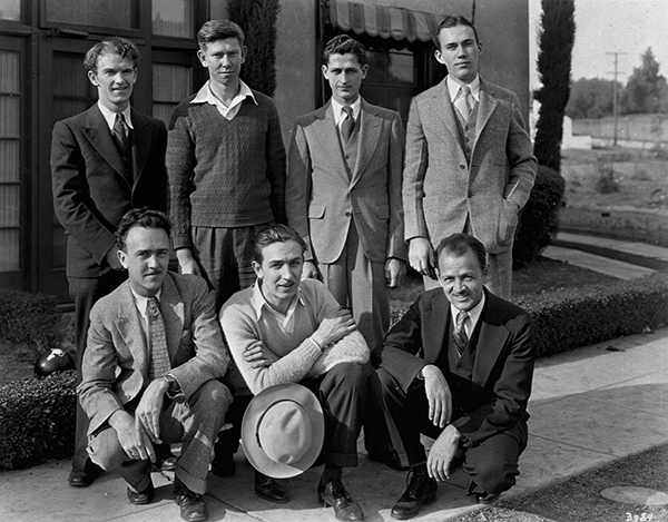 Members of Disney staff, 1929; Standing left to right: Johnny Cannon, Wilfred Jackson, Les Clark, Jack Cutting. Front row, Ub Iwerks, Walt Disney, Carl Stalling. Courtesy of the Walt Disney Archives Photo Library, © Disney.