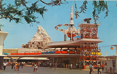 Disneyland Tomorrowland postcard, collection of the Walt Disney Family Foundation, © Disney