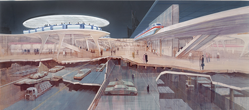 EPCOT concept art, ca. 1965; courtesy of Walt Disney Imagineering, © Disney