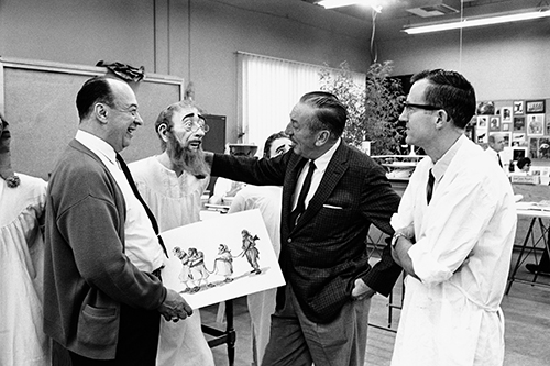 Marc Davis, Walt Disney, and Blaine Gibson with an Audio-Animatronics® Pirate, ca. 1965. Courtesy of the Walt Disney Archives Photo Library, © Disney.