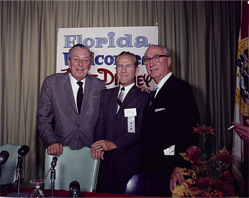 "Walt, Joe Potter, and Roy at the press conference in Orlando where the ""Florida Project"" was officially announced, c. November 15, 1965; Courtesy of the Walt Disney Archives Photo Library, © Disney."