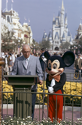 Roy and Mickey Mouse dedicate Walt Disney World, c. October 25, 1971; Courtesy of the Walt Disney Archives Photo Library, © Disney.