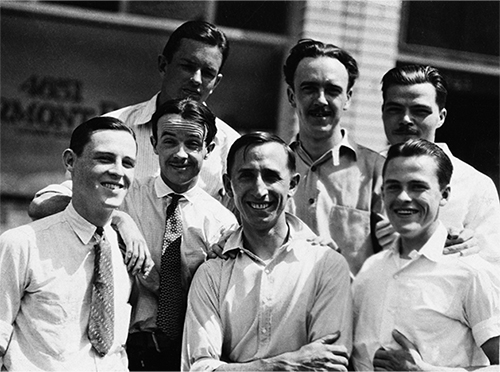 "At the Disney Bros. Studio on Kingswell Avenue, back row (left to right): Thurston Harper, Ub Iwerks,  Rudolf Ising. Front row (left to right): Walker Harman, Rollin ""Ham"" Hamilton, Roy, Hugh Harman, ca.  1925; Courtesy of the Walt Disney Archives Photo L"