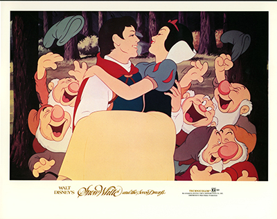 Snow White and the Seven Dwarfs rerelease lobby card, 1983 collection of the Walt Disney Family Foundation, © Disney.