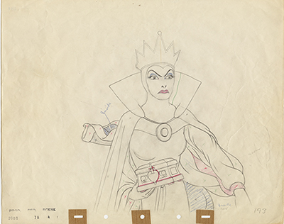 Evil Queen animation drawing, c. 1937; collection of the Walt Disney Family Foundation, © Disney.