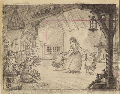 <em>Snow White and the Seven Dwarfs</em> story drawing, c. 1937; collection of the Walt Disney Family Foundation, © Disney.