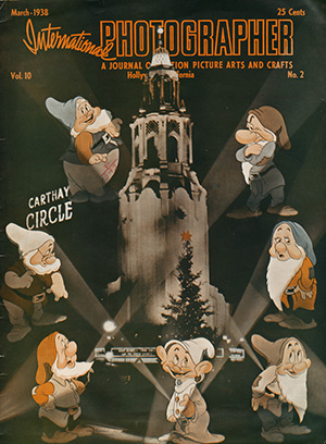 International Photographer: A Journal of Motion Picture Arts and Crafts cover with the Seven Dwarfs, 1938; collection of the Walt Disney Family Foundation, Seven Dwarfs © Disney.