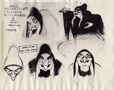 Joe Grant, Witch Poses Model Sheet, Photostat, c. 1937; collection of the Walt Disney Family Foundation, © Disney.