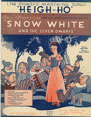 """(The Dwarfs' Marching Song) 'Heigh-Ho'"" sheet music, 1937; collection of the Walt Disney Family Foundation, © 1937 Disney."
