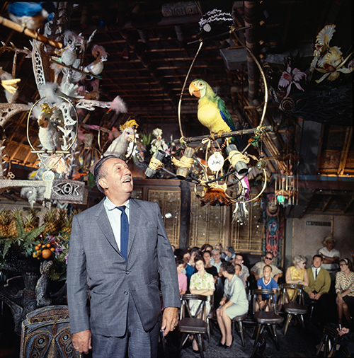 Walt Disney in his Enchanted Tiki Room, 1963; courtesy of the Walt Disney Archives Photo Library, © Disney