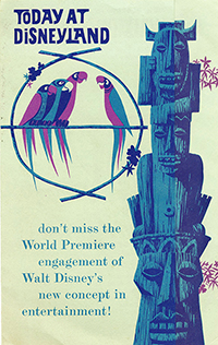 "Walt Disney's Enchanted Tiki Room brochure ""Today at Disneyland,"" 1963; collection of the Walt Disney Family Foundation, © Disney"