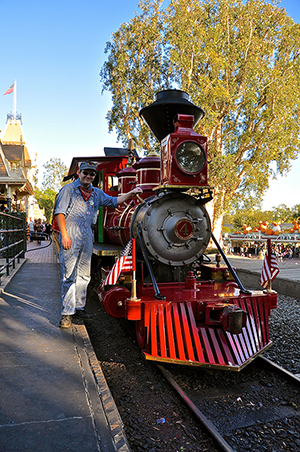 Tom Nance working as an engineer on the Disneyland Railroad. Courtesy of Tom Nance.