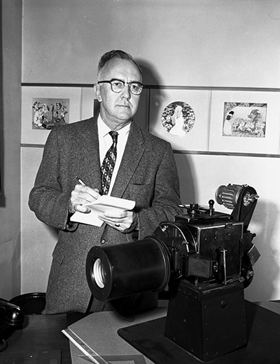 Ub Iwerks with camera, c. 1960; collection of the Walt Disney Family Foundation, ©Disney.