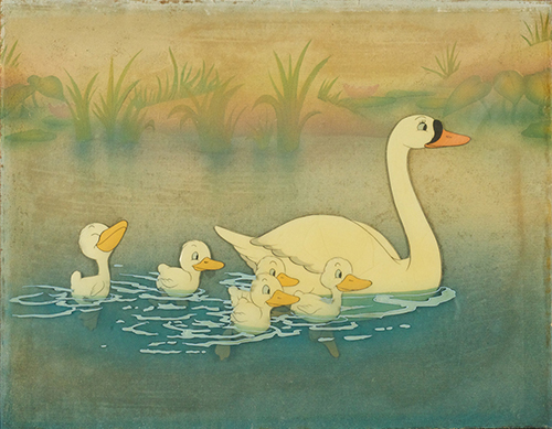 Courvoisier cel setup The Ugly Duckling (1939); collection of the Walt Disney Family Foundation, © Disney.