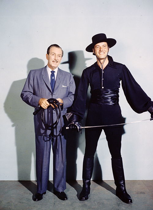 Walt Disney with Guy Williams costumed as Zorro (sans mask), 1959; courtesy of the Walt Disney Archives Photo Library, © Disney