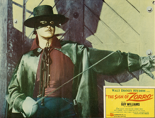 The Sign of Zorro lobby card, c. 1960; collection of the Walt Disney Family Foundation, © Disney