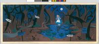 Mary Blair, Alice on a pond in Tulgey Woods, c. 1950, Alice in Wonderland, Opaque watercolor on paperboard, Courtesy of the Collection of the Walt Disney Family Foundation, Gift of Ron and Diane Miller, © Disney