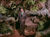 "Walt Disney with dinosaurs, ""Disneyland Goes to the World Fair"" (1964)"